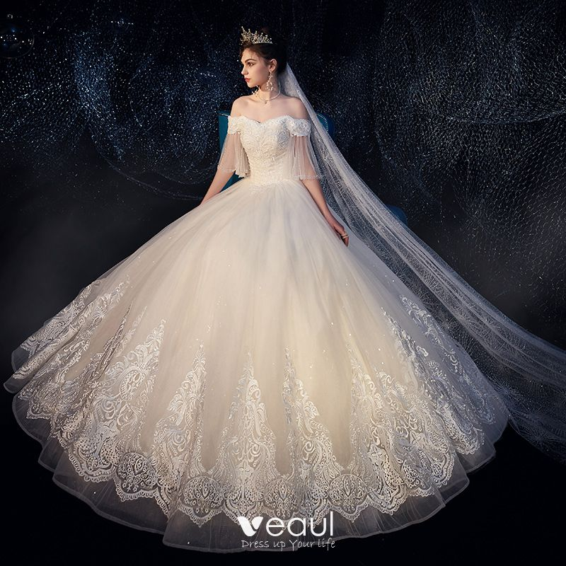 Best Ivory Outdoor / Garden Wedding Dresses 2019 Ball Gown