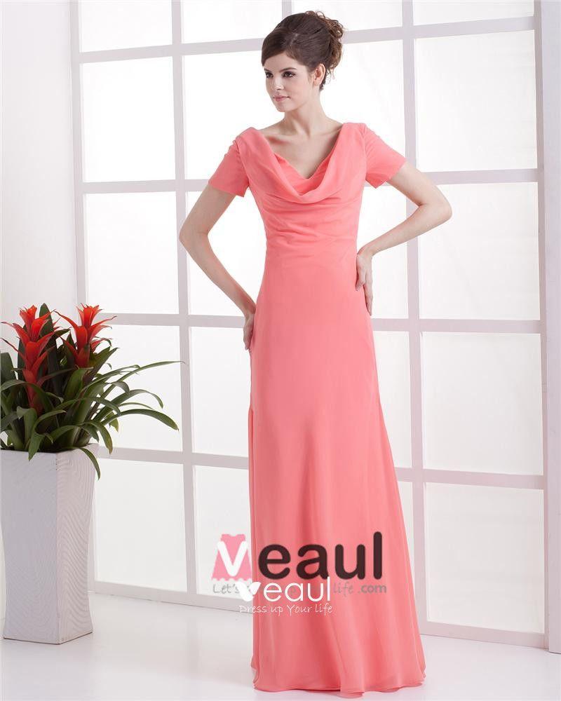 Chiffon V-neck Drape Workmanship Floor Length Bridesmaid Dresses