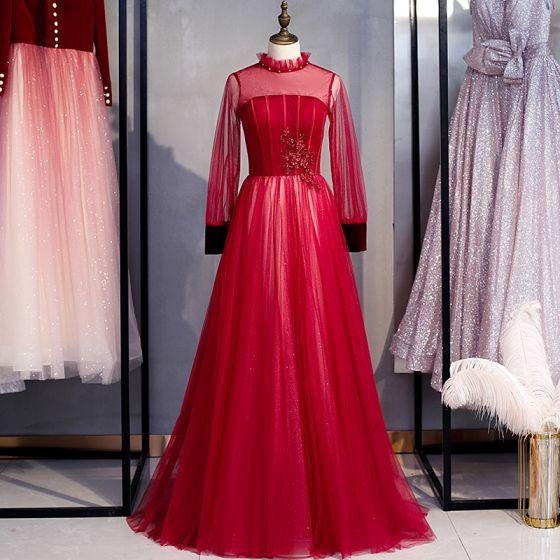 Elegant Burgundy Prom Dresses 2020 A-Line / Princess High Neck Beading Sequins Lace Flower Long Sleeve Backless Floor-Length / Long Formal Dresses