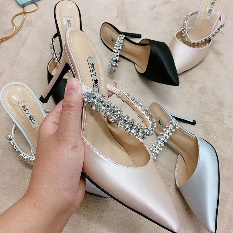 Chic / Beautiful Silver Casual Womens Sandals 2019 Leather Satin Rhinestone 9 cm Stiletto Heels Sandals Pointed Toe
