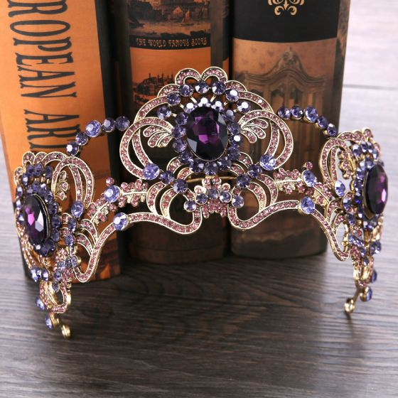 Chic / Beautiful Gold Grape Tiara 2019 Metal Rhinestone Bridal Hair Accessories