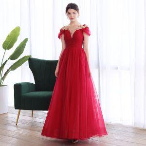 Élégant Bordeaux Dansant Robe De Bal 2020 Princesse Transparentes Encolure Dégagée Manches Courtes Perlage Longue Volants Dos Nu Robe De Ceremonie