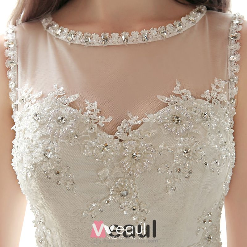2015 A-line Scoop Neck Beading Rhinestone Appliques Lace Wedding Dress