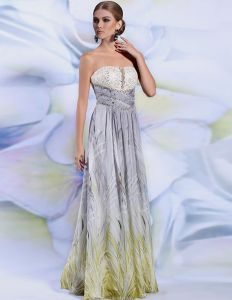 2015 Empire Strapless Pleated Embroidered Backless Long Evening Dress