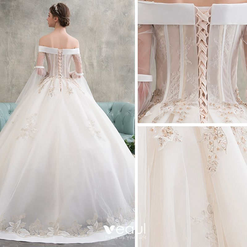 Long Sleeve Lace Wedding Dresses Ball Gown Backless: Elegant Champagne Wedding Dresses 2018 Ball Gown Appliques