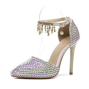 Charmant Multifarben Strass Brautschuhe 2020 Knöchelriemen 11 cm Stilettos Spitzschuh Hochzeit High Heels