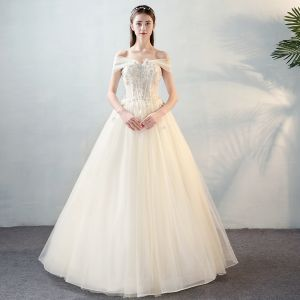 Chic / Beautiful Ivory Wedding Dresses 2018 A-Line / Princess Lace Appliques Pearl Bow Off-The-Shoulder Backless Floor-Length / Long Wedding