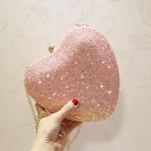 Bling Bling Blushing Pink Glitter Heart-shaped Metal Clutch Bags 2018