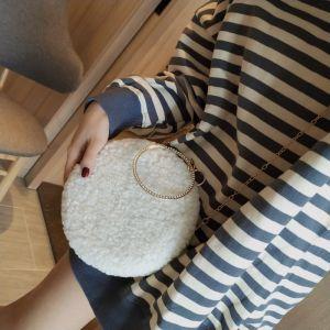 Chic / Beautiful White Woolen Clutch Bags 2020 Metal Rhinestone