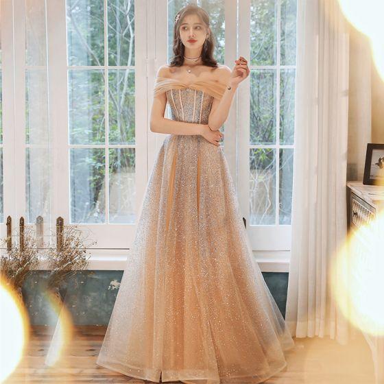 Elegant Champagne Gold Evening Dresses  2020 A-Line / Princess Sweetheart Sleeveless Beading Glitter Tulle Floor-Length / Long Ruffle Backless Formal Dresses