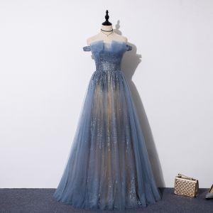 Bedst Havblåt Selskabskjoler 2019 Prinsesse Off-The-Shoulder Beading Kort Ærme Pailletter Lange Flæse Halterneck Kjoler