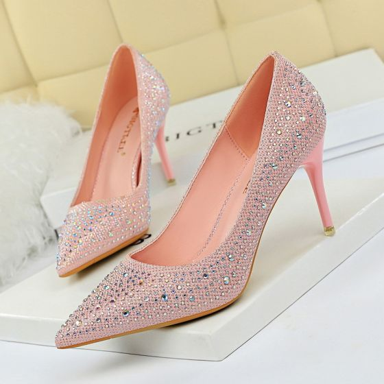 Charming Candy Pink Beading Evening Party Pumps 2020 7 cm Stiletto Heels Rhinestone Pointed Toe Pumps