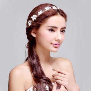 Blanc Papillon Noeud Avec Le Diamant Coiffe De Mariée / Fleur Tete / Accessoires De Cheveux De Mariage / Bijoux De Mariage
