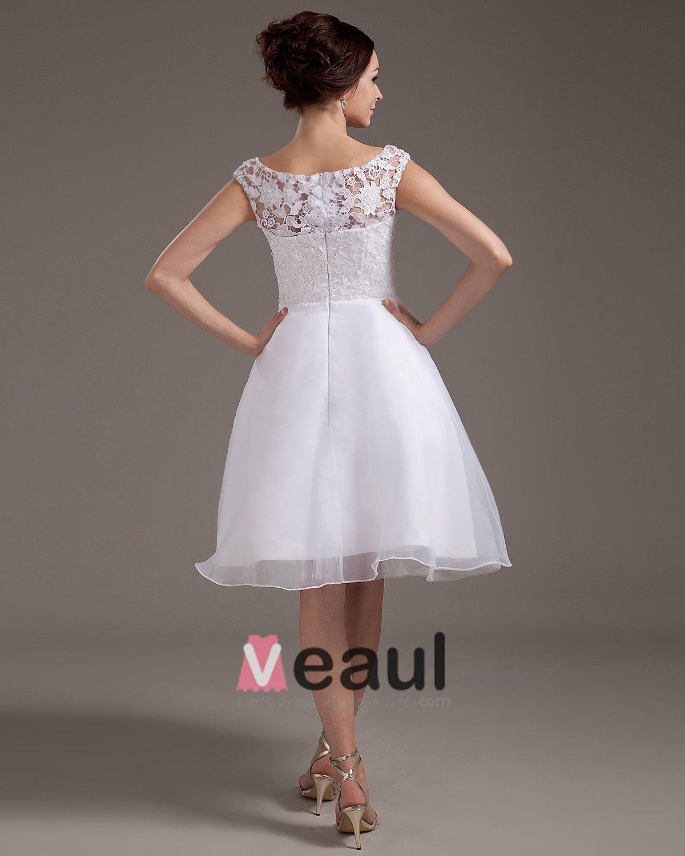 Spitze Schärpe Juwel Kurz Brautkleider Hochzeitskleid