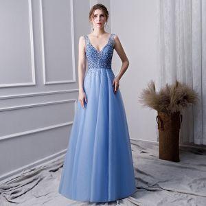 Piękne Błękitne Wykonany Ręcznie Frezowanie Sukienki Na Bal 2019 Princessa V-Szyja Perła Rhinestone Cekiny Bez Rękawów Bez Pleców Długie Sukienki Wizytowe