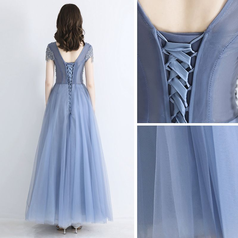 Chic / Beautiful Sky Blue See-through Evening Dresses  2019 A-Line / Princess Square Neckline Short Sleeve Beading Tassel Floor-Length / Long Ruffle Backless Formal Dresses