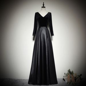 Modest / Simple Black Evening Dresses  2020 A-Line / Princess Suede V-Neck Long Sleeve Backless Floor-Length / Long Formal Dresses