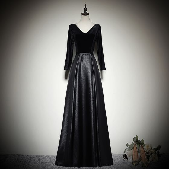 Modest / Simple Black Evening Dresses  2020 A-Line / Princess Suede V-Neck Long Sleeve Backless Floor-Length / Long Formal Dresses