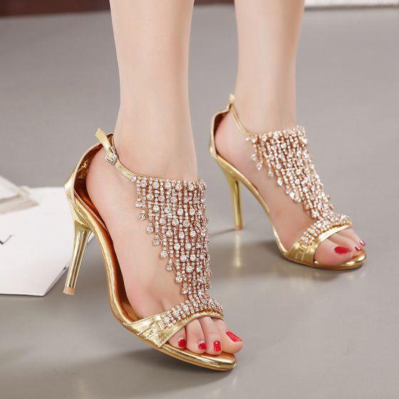 Sjarmerende Gull Aften Sandaler Dame 2020 Rhinestone 9 cm Stiletthæler Peep Toe Sandaler