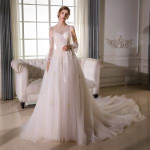 Elegant Champagne See-through Wedding Dresses 2018 A-Line / Princess Scoop Neck Puffy 3/4 Sleeve Backless Appliques Lace Beading Cathedral Train Ruffle