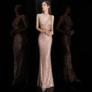 Sparkly Rose Gold Sequins Evening Dresses  2020 Trumpet / Mermaid Deep V-Neck Sleeveless Floor-Length / Long Backless Formal Dresses