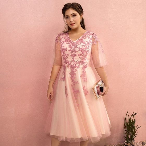 Charming Candy Pink Plus Size Graduation Dresses 2018 A-Line / Princess  Tulle V-Neck Lace-up Appliques Backless Homecoming Formal Dresses