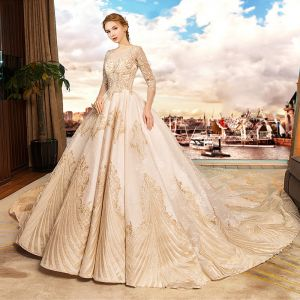 Luxury / Gorgeous Champagne Wedding Dresses 2019 A-Line / Princess Scoop Neck Beading Pearl Sequins Lace Flower 3/4 Sleeve Backless Royal Train