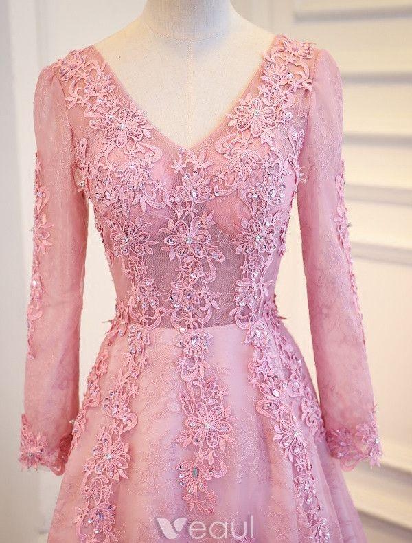Elegant Prom Dresses 2017 V-neck Long Sleeves Beading Rhinestones Pink Dress With Train