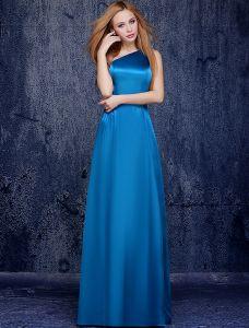 Enkelt-skulder Gulvlange Ocean Blå Silke Brudepigekjole