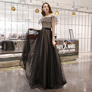 Elegant Black Spotted Prom Dresses 2019 A-Line / Princess Off-The-Shoulder Short Sleeve Backless Floor-Length / Long Formal Dresses