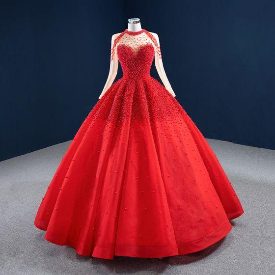 Luxus / Herrlich Rot Durchsichtige Hochzeits Brautkleider / Hochzeitskleider 2020 Ballkleid Stehkragen Lange Ärmel Handgefertigt Perlenstickerei Perle Lange