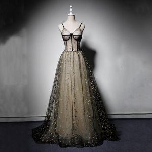 Moderne / Mode Noire Robe De Bal 2019 Princesse Bretelles Spaghetti Sans Manches Glitter Étoile Longue Volants Dos Nu Robe De Ceremonie