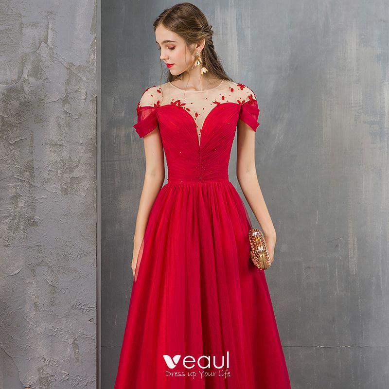 Elegante Rot Durchsichtige Abendkleider 2019 A Linie ...