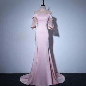Elegant Candy Pink See-through Evening Dresses  2018 Trumpet / Mermaid High Neck Bell sleeves Pearl Court Train Ruffle Formal Dresses