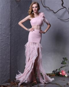 Elegant Yarn Ruffle Pleated Flower Sloping Asymmetrical Length Women Prom Dress