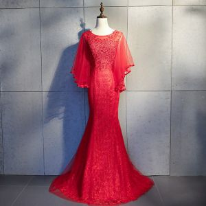 Chic / Beautiful Red Evening Dresses  2018 Trumpet / Mermaid Lace Appliques Beading Sequins Scoop Neck Backless 3/4 Sleeve Sweep Train Formal Dresses