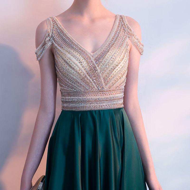 Luxe Vert Foncé Robe De Soirée 2018 Princesse Cristal Perlage Faux Diamant V-Cou Bustier Dos Nu Sans Manches Train De Balayage Robe De Ceremonie
