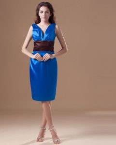 Satin Ruffle V Neck Knee Length Mother Of The Bride Dress