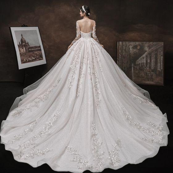 Charming Champagne Handmade  Bridal Wedding Dresses 2021 Ball Gown See-through Scoop Neck Long Sleeve Backless Appliques Lace Beading Glitter Tulle Cathedral Train Ruffle