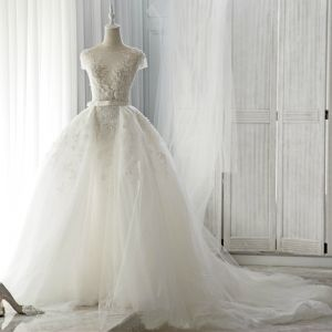 Chic / Beautiful Ivory Wedding Dresses 2017 Short Sleeve Appliques Lace Backless Ruffle Tulle Sash Detachable Court Train