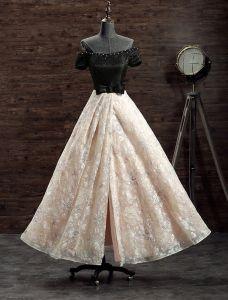 Beautiful Evening Dresses 2017 Off The Shoulder Beading Light Champagne Lace Split Front Dress