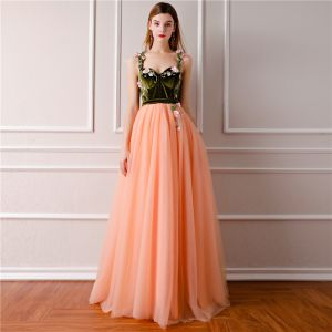 Modern / Fashion Orange Prom Dresses 2019 A-Line / Princess Sleeveless Shoulders Embroidered Flower Floor-Length / Long Ruffle Backless Formal Dresses