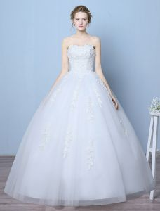 Elegant Wedding Dresses 2016 Ball Gown Sweetheart Applique Lace Floor Length Bridal Gown