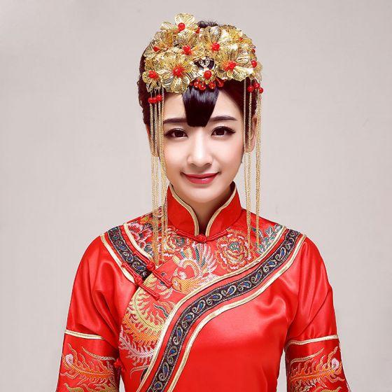 Kinesisk Stil Brude Medaljon Guldbryllup Hår Tilbehør Bryllup Smykker