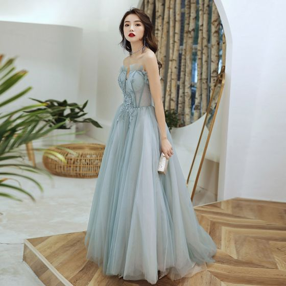 Elegant Sage Green Dancing Prom Dresses 2021 A-Line / Princess Strapless Sleeveless Appliques Lace Beading Floor-Length / Long Ruffle Backless Formal Dresses