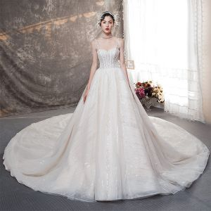 Elegant Champagne Wedding Dresses 2019 A-Line / Princess Spaghetti Straps Sleeveless Backless Pearl Beading Glitter Tulle Cathedral Train Ruffle