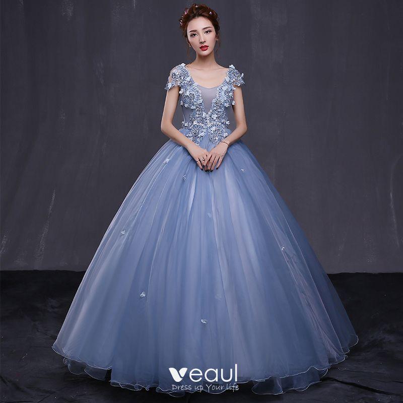 Chic / Beautiful Formal Dresses 2017 Prom Dresses Sky Blue Ball Gown  Floor-Length / Long V-Neck Sleeveless Backless Appliques Flower Rhinestone  ...