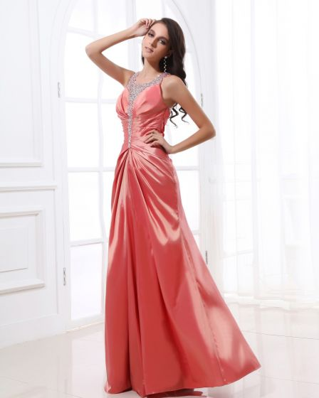 Beading Halter Neckline Floor Length Pleated Taffeta Woman Evening Dress