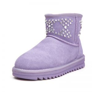 paarse platte laarzen