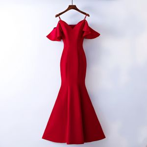 Schöne Rot Abendkleider 2017 Mermaid Spaghettiträger Bandeau Rückenfreies Kurze Ärmel Knöchellänge Abend